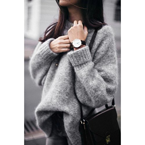 Besooly Women Long Sleeves Pullover Tops Casual Loose Knitwear Pullover O Neck Autumn Winter Rabbit Hair Sweater Hooded
