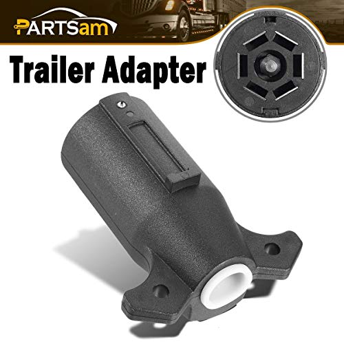 Partsam 7 Way Round RV Blade Connector Trailer Light 7 Way Adapter Plug, 7 Pin Round RV Horse Trailer Tow Plug Wiring Connector End Adapter