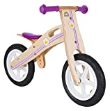 BIKESTAR Original Safety Wooden Lightweight First Running Balance Bike with air tires for Kids age 3 year old girls 12 Inch Edition Little Princess Design