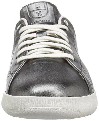 Cole Haan Dames Grandpro Tennis Leer Veter Ox Fashion Sneaker Metallic Gunmetal / Zwart