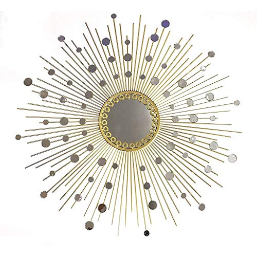 YYHSND Wall Mirror Round Decorative Metal Star Burst Hanging Mirror Modern Boho Style Decorated Living Room Bathroom Bedroom and Entrance Passage Wall Mirror (Size : 90cm)