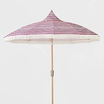 Amazon Com Opalhouse 9ft Striped Patio Umbrella With Fringe Pink