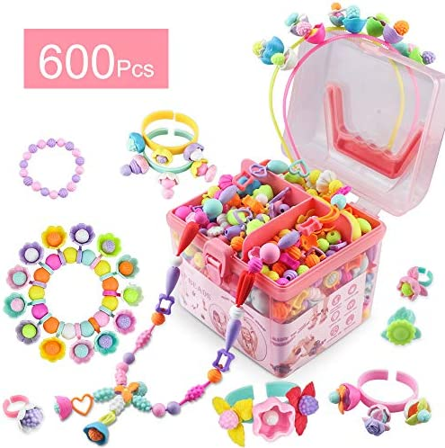 Girls Toys Gifts Snap Pop Beads 600 Pcs Jewelry Making Kit Arts and Crafts Gift for Kids DIY Necklace Bracelet Hairband and Ring Creativity Gifts Toys for Age 3 4 5 6 7 Year Old Girl