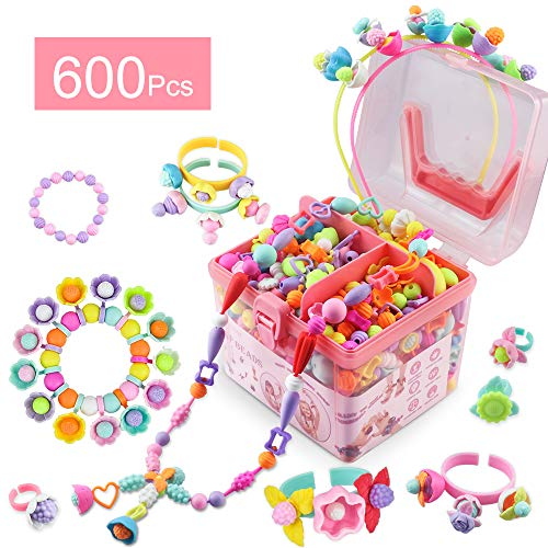 Girls Toys for Age 3 4 5 6 Pop Beads 600 Pcs Jewelry Making Gifts Arts and Crafts for Kids Necklace and Bracelet and Ring Creativity DIY Set