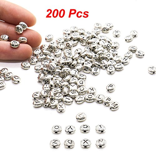 Beads Letter Silver Metal (MAISHO 200pcs Metal Alphabet Letter Beads Silver Tiny Alloy Beads for Jewelry Making Supplies 6mm)