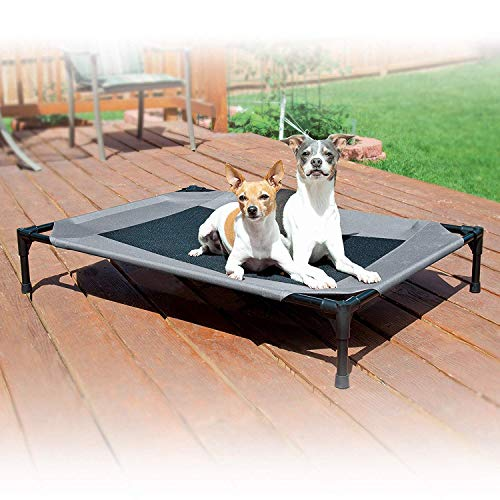K&H Pet Products Original Pet Cot Elevated Dog Bed Gray/Black Mesh Large 30 X 42 X 7 Inches
