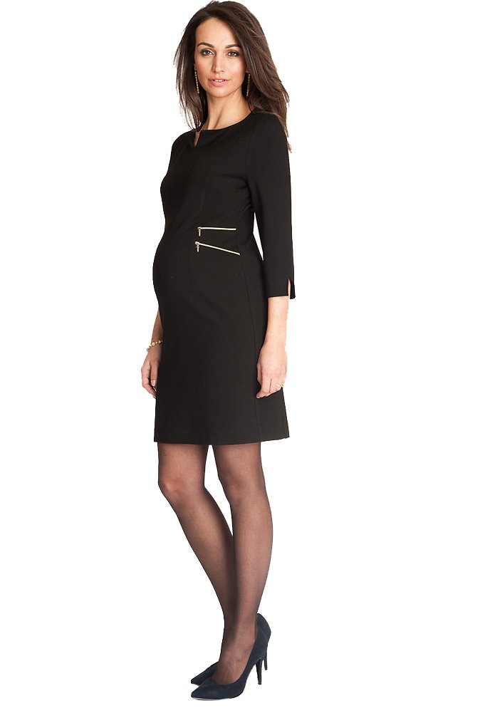 Seraphine Maternity Women's Black Zip Detail Maternity Dress Size 10 by Seraphine