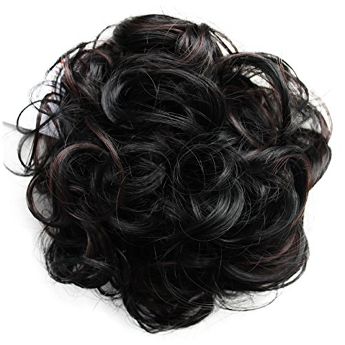PRETTYSHOP Voluminöses DUTT Haarteil gewellt Haarknoten Haargummi Hepburn-Dutt Haarverdichtung divese Farben (dunkelbraunmix 1H32A)