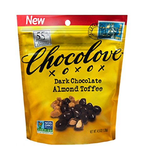 (CHOCOLOVE XOXOX, PCH, DK CHOC, ALMND TOFFEE, Pack of 8, Size 4.5 OZ - No Artificial Ingredients)