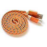 Textile-Cable braided Orange - 1 Meter charging cable, data cable - micro USB for Samsung Galaxy S4, S4 mini, S3, S3 mini, S2 and other Smartphones with Micro USB port by OKCS