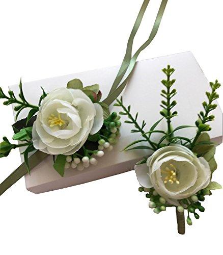 YuRong Wrist Corsage Elegant Corsage Flower Corsage Wedding Boutonnieres T02 (Green)
