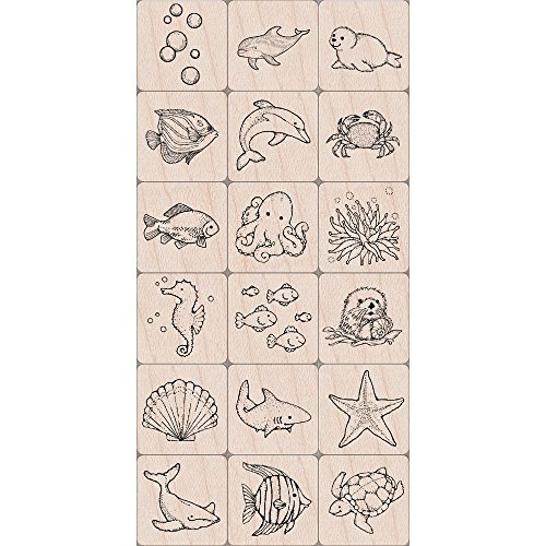 Hero Arts LL389 Ink 'n' Stamp Woodblock Stamps, Sea Life