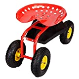 Red / Green Garden Cart with Heavy Duty Tool Tray - Green