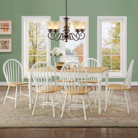Windsor Desk Chair (Better Homes and Gardens Autumn Lane Table with 6 Windsor-style Dining Chairs White and Natural for Great Meals and Dinners with Family and Friends, 7-Piece Bundle Set)