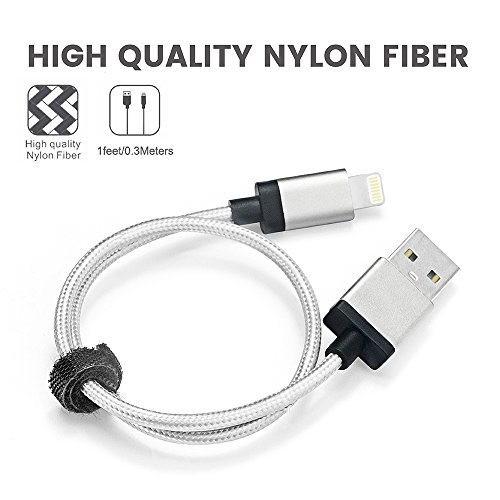 Perfect Size for DJI Inspire 1 Phantom 4 Phantom 3 Remote Control with iPad Air Mini, Cambond Apple MFi Certified 1ft Lightning Cable Nylon Braided for iPhone X 8 7 6 6 plus 5 iPod (Solid Silver) by Cambond (Image #3)