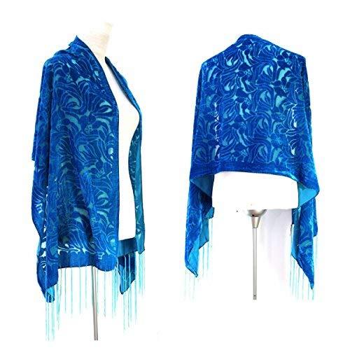 Handmade Gorgeous Pure Turquoise Color Vintage Floral Silk Burnout Velvet Shawl Wrap Scarf ()