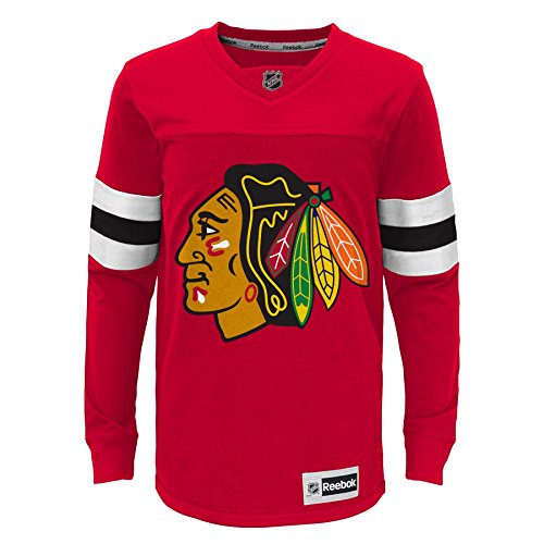 NHL Youth Boys 8-20 Blackhawks Long Sleeve Faceoff Jersey Tee, M(10-12), Red - Face Off Kids T-shirt