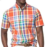 Chaps Men's Easy Care Gingham Woven Short-Sleeve Shirt (X-Large Tall, Naval Orange)