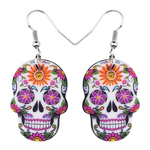 NEWEI Acrylic Halloween Skeleton Skull Earrings Drop Dangle Fashion Jewelry For Girl Women Gift (Skull Earrings C)