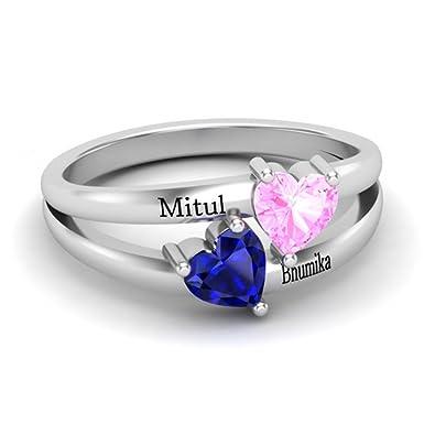 nuovo prodotto 0e4d1 616eb zhaolian888 Anelli Personalizzati Con Nome Inciso 2 nomi e pietre preziose  per il cuore - Regalo in argento sterling 925