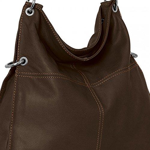 CASPAR Damen Multifunktions Handtasche / Schultertasche / Umhängetasche aus weichem Leder - viele Farben - TL627 dunkelbraun