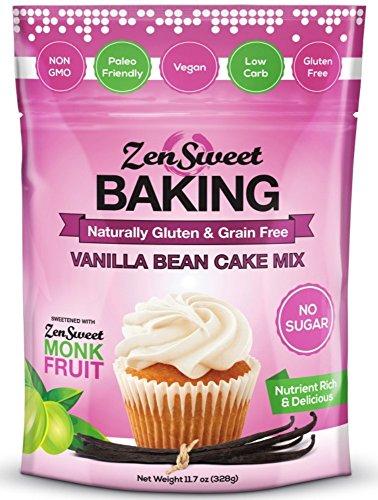 ZenSweet Baking Vanilla Bean Cake Mix 11.7 oz , Sugar Free, Non-GMO, Paleo, Vegan, Low Carb, & Gluten -