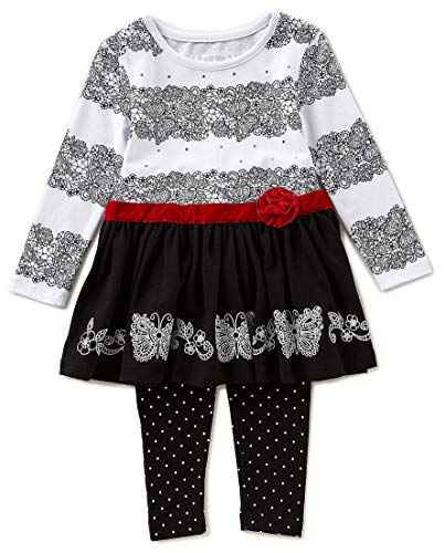 Outfit Flapdoodles Girl (Flapdoodles Girls Red Black Lace Print Size 2T-4T Tunic Leggings (4T))