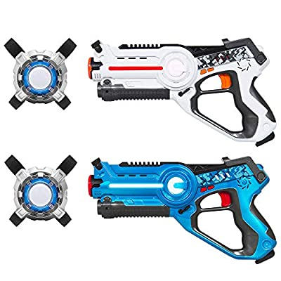 Best Choice Products Set of 2 Kids Laser Tag Blasters w/ Vests, Multiplayer Mode - Blue/White: Toys & Games