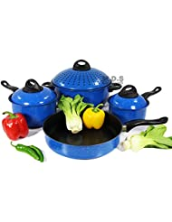 Cookware Set 7pc w/ Non-Stick Marble Coating, Easy Grip, Stay cold Handles,Metal Lids, Carbon Steel