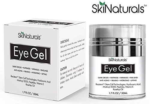 Eye Gel for Dark Circles, Puffiness, Wrinkles, Fine Lines and Bags - The Most Effective Anti-Aging Eye Cream for Under and Around Eyes with Hyaluronic Acid and Rosehip Oil - 1.7 fl. oz by SkiNaturals (Image #4)