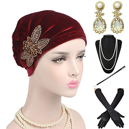 1920s Headwrap Accessories Set - Velvet Turban Hat Cap,Gatsby Long Gloves, Earrings,Pearl Necklace for Women (OneSize, -