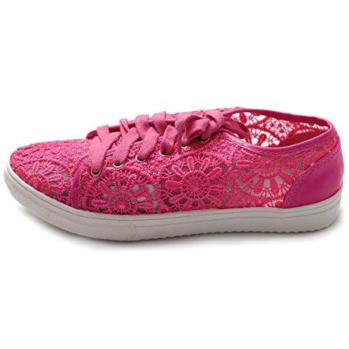 Ollio Mujeres Ballet Zapato Lace Up Sneaker Flat Fucsia