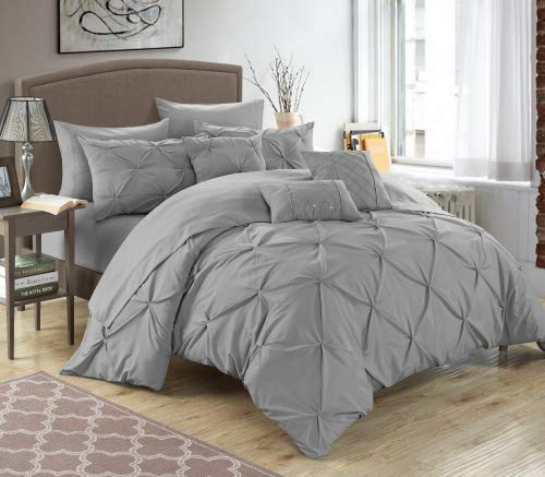 Chic Home 10 Piece Hannah Pinch Pleated, ruffled and pleated complete King Bed In a Bag Comforter Set Silver With sheet set (Blue Silver And Comforter)