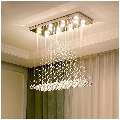 Interior Lighting Moooni Modern Rectangle Crystal Chandeliers Raindrop Rectangular Flush Mount Ceiling Light Fixture for Dining Room… modern ceiling light fixtures