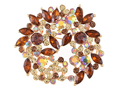 Wreath Brooch (Alilang Topaz Brown Crystal Rhinestone Floral Wreath Brooch Pin)
