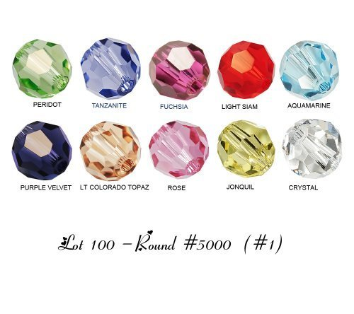 Lot 100 pcs Swarovski ROUND #5000 Crystal Beads 4mm. 10 colors: Crystal, Jonquil, Rose, Lt Colorado Topaz, Purple Velvet, Aquamarine, Lt Siam, ....