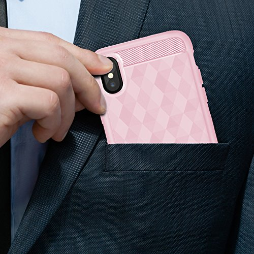 "Coque iPhone X , ivencase SOFT-FLEX TPU Antichoc Silicone Etui Housse de Protection Shell Bumper Cover pour Apple iPhone X 5.8"" Rose"