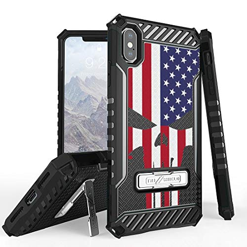 Flag Shield Protector Case - Beyond Cell Tri Shield Case Compatible with Apple iPhone Xs Max - Military Grade Shock Proof [MIL-STD 810G-516.6] Kickstand Case Cover for iPhone Xs Max - USA Skull Flag