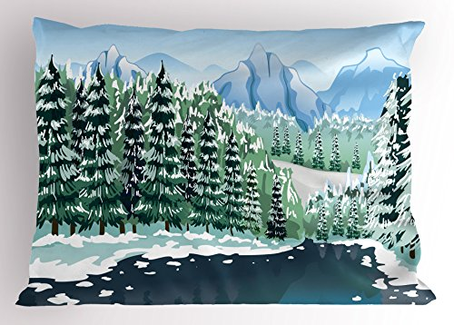 Ambesonne Forest Pillow Sham, Wildwood in Winter Season with Snowy Mountains and Frozen River Cartoon Style, Decorative Standard Queen Size Printed Pillowcase, 30