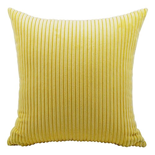 (Eazyhurry Brilliant Solid Corduroy Cushion Cover Soft Striped Throw Pillow Case Home Decorative Cushion Protector for Sofa/Chair/Couch Yellow 14
