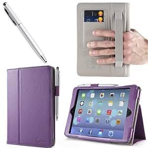 iPad Mini Case, i-Blason Apple iPad Mini 3 Case [2014 Release with Touch ID] Compatible with iPad Mini / iPad Mini with Retina Display Auto Wake / Sleep Smart Cover Leather Case (Purple)