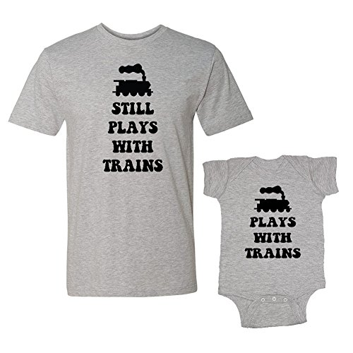 We Match! Plays with Trains & Still Plays with Trains Matching Adult T-Shirt & Baby Bodysuit Set (24M Bodysuit, Adult T-Shirt Large, Sport Grey) ()