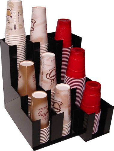 Counter Mount Beverage Cup Dispenser - Cup Dispenser for beverage Soda Cups, Coffee Cups and Lids Organizer for Coffee Counters and Breakroom (10076)