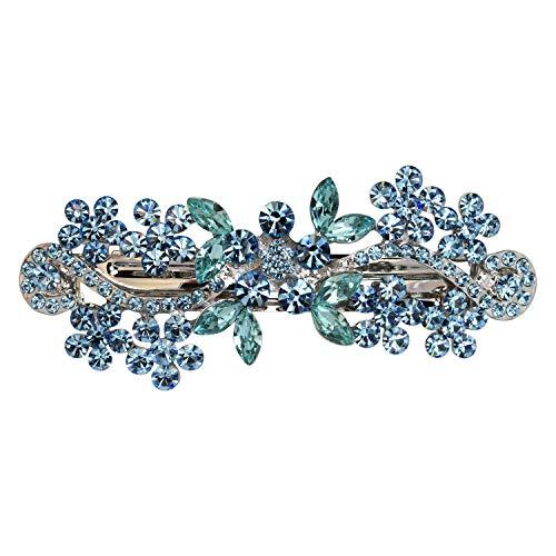 Faship Gorgeous Aqua Crystal Flower Barrette Clip - -