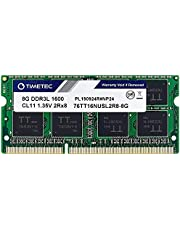 Timetec 8GB DDR3L / DDR3 1600MHz (DDR3L-1600) PC3L-12800 / PC3-12800(PC3L-12800S) Non-ECC Unbuffered 1.35V/1.5V CL11 2Rx8 Dual Rank 204 Pin SODIMM Laptop Memoria RAM Módulo para Actualizacion para PC Computadora Portatil Notebook (8GB)