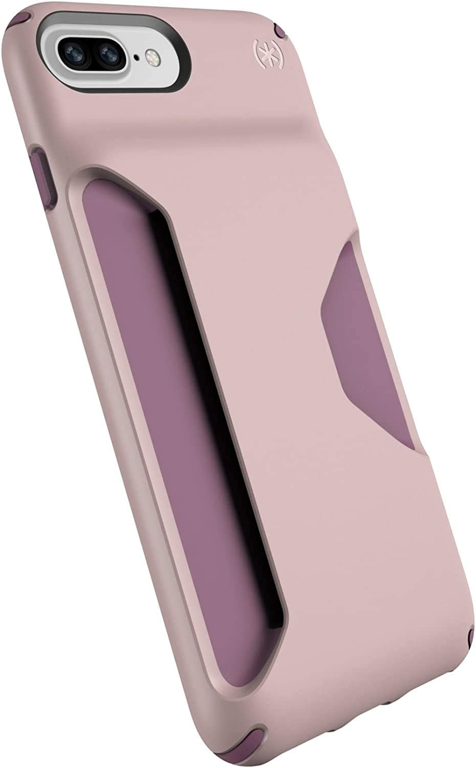 Speck Products Presidio Wallet Case for iPhone 8 Plus/7 Plus/6S Plus/6 Plus - Bulk Packaging - Clay Pink/Plum Berry Purple