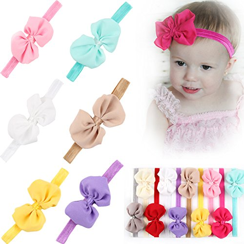 """Qandsweet Baby Girl Bandeaux bowknot Lint Arcs 3,7 """"(10 Pack)"""