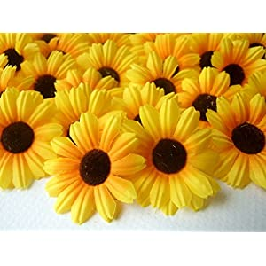 """ICRAFY 100 Daisy Silk Flower Head Yellow Color Sunflowers Style, Size 1.5"""" Artificial Flowers Heads Fabric Floral Supplies Wholesale Lot for Wedding Accessories Make Bridal Hair Clips Headbands Dress 66"""
