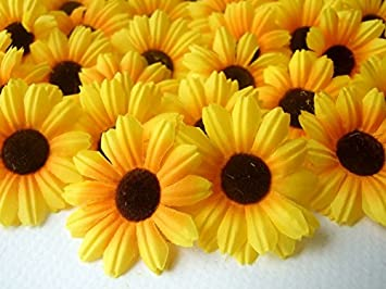 Amazon icrafy 100 daisy silk flower head yellow color icrafy 100 daisy silk flower head yellow color sunflowers style size 15quot artificial flowers mightylinksfo
