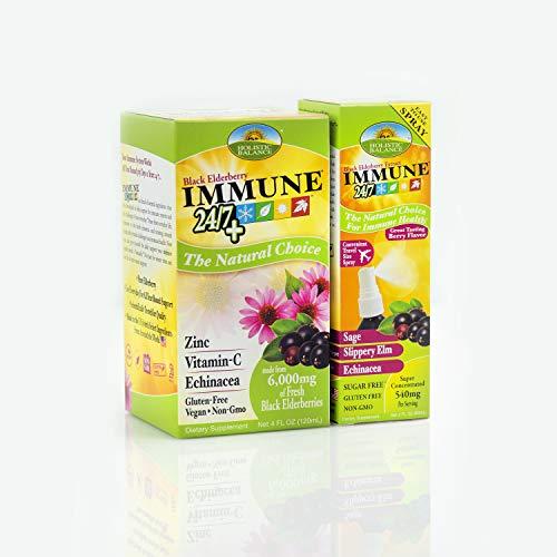 Sambucus Immune 24/7 Combo Pack Extract and Free Spray | Immune 24/7 Plus Vitamin C, Zinc and Echinacea Berry Flavor | Plus Sambucus Extract Spray for Immune Support with Sage, Slippery Elm BOGO